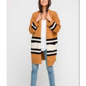 Lush Demi Camel striped cardigan